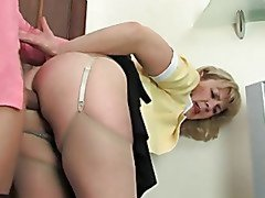 blonde mom with round ass gets fucked from behind