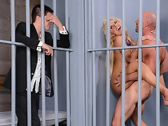 lusty milf fucks in prison cell with bald brutal prisoner