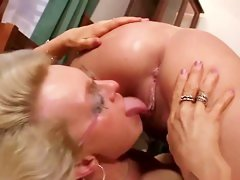 blonde mature licks wet pussy in lesbian sex action
