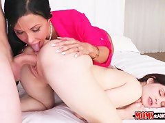 brunette milf and step daughter get hot fuck in homemade threesome