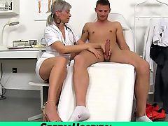 A boy cum on tits of hot skinny milf doctor Beate